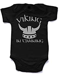 Naughtees clothing - Viking in training printed short sleeved babygrow babysuit in 8 colours and 4 sizes