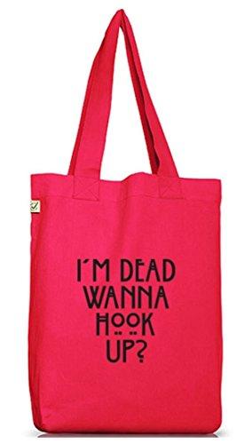 Shirtstreet24, AHS - Wanna Hook Up? Jutebeutel Stoff Tasche Earth Positive (ONE SIZE) Hot Pink