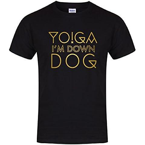 Yoga, I'm Unisex Down-Dog-Fun T-Shirt-Maglietta da allenamento,