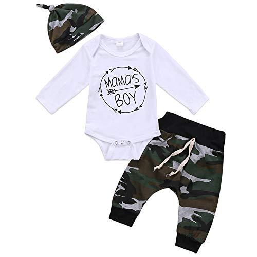 Geagodelia 3tlg Babykleidung Set Baby Jungen Langarm Body + Hose + Mütze Kleinkinder Neugeborene Weiche Warme Baumwolle Babyset Bekleidung (0-6 Monate, Mama's Boy (Weiß + Camouflage))