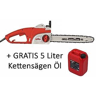 Grizzly Elektro Kettensäge EKS 2240 QTX Motorsäge 2200 Watt 395 mm Schnittlänge plus 5 Liter Divinol Blauer Engel Kettenöl gratis Zugabe