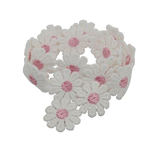 Baoblaze Vintage Deko Band Blume Spitzenbesatz für Hochzeitskleid - Rosa