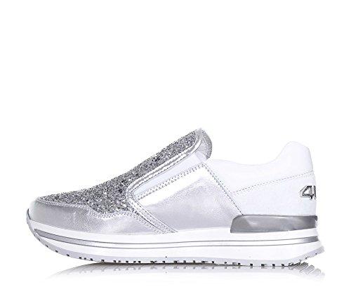 4US CESARE PACIOTTI -Silberner und weißer Schuh, aus Leder und Glitzern, die richtige Auswahl für diejenigen, Mädchen, Damen - 5