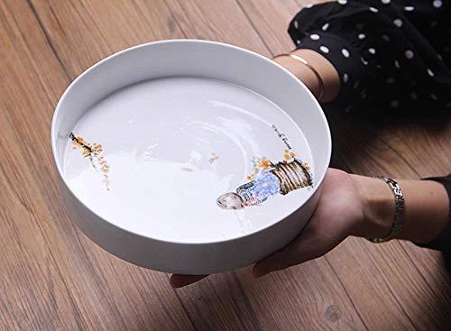 Canju Küchengeschirr/Geschirr/Outdoor/Camping Geschirr handgefertigte Illustration Keramik Obstteller runden Tablett Jingdezhen handbemalte Snack Platte Glasur unter der dunklen Platte (Handgefertigtes Geschirr Keramik)