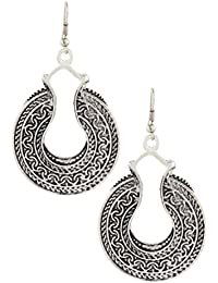 The Jewelbox Indian Victorian Oxidized German Silver Plated Black Dangling Earring For Women