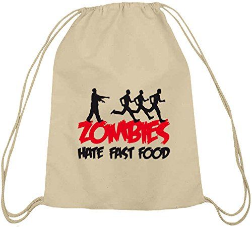 Food Kostüm Cool - natur Turnbeutel ZOMBIES HATE FAST FOOD, Größe: onesize,natur