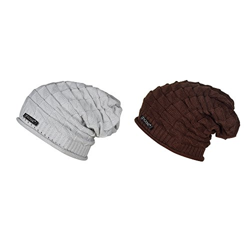 Noise Combo of Grey Knitted and Brunette Brown Knitted Slouchy Beanie Winter Cap- Size XL