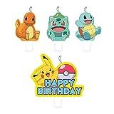 Amscan International 9904828 - Confezione da 4 candele Pokemon, colori assortiti