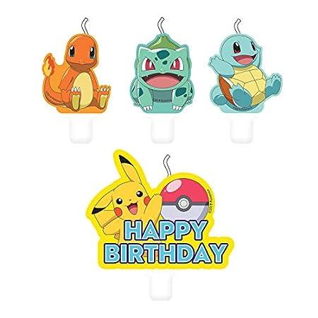 Amscan 9904828 – Mini Figurenkerzen Pokemon Happy Birthday, 4 Stück, Kuchenkerzen