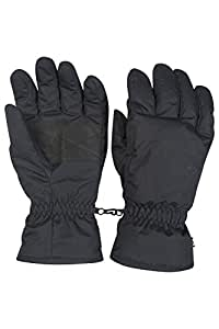 Mountain Warehouse Men's Ski Gloves - Snow Proof, Textured Palm with Adjustable Cuffs & Fleece Lined - Great fit and improved warmth & textured palms for better grip Black Small