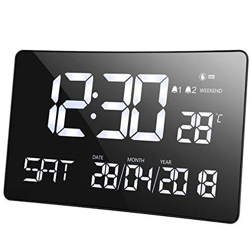 Mpow Orologio da Tavolo con Calendario, Mpow Sveglia Digitale con 11'' Schermo Curvo, Sensore Luminoso, Doppio Allarme, Orologio Multifunzione con Data, Giorno della Settimana, Temperatura Interna