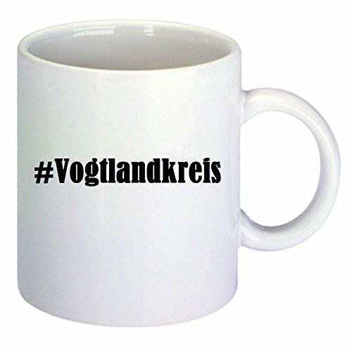 Kaffeetasse #Vogtlandkreis Hashtag Raute Keramik Höhe 9,5cm ? 8cm in Weiß