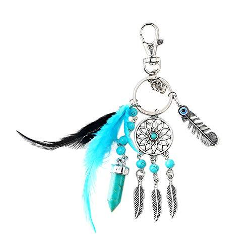 Dsaren Llavero Atrapasueños Colgante Bohemia Plumas Llavero Creativa Regalos para Las Madres Mujeres Niñas (Azul Claro)