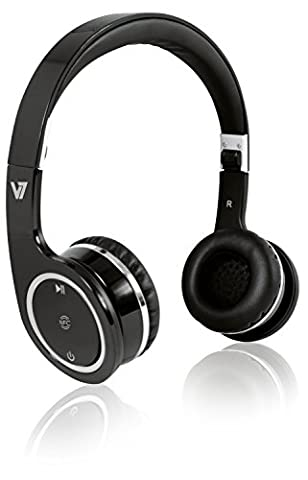 V7 Bluetooth wireless Headset with NFC adjustable headband and microphone - push to talk - Black