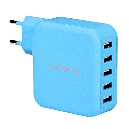 Caricatore da muro con 5 porte USB da 40W e 8A complessivi (blu)