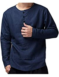 BUSIM Men's Long Sleeve Shirt Chinese Kung Fu Casual Cotton Slim Solid Color Buckle Casual Smart T-Shirt Top Loose... - B07H9BCJX9
