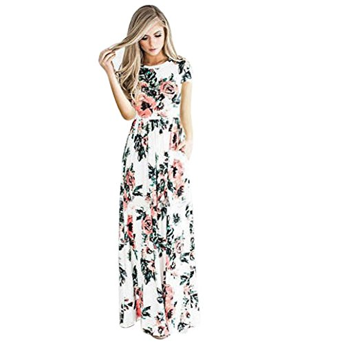 Kleider Damen Floral Print Kurzarm Lange Maxi Kleid Von Xinan (S, Weiß) (Sommer-weiße Maxi-kleider)