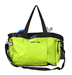 Prettykrafts Baby Stuff Organizer - Baby Diaper Bag - Baby Care Travel Organizer with Side Belt - Green