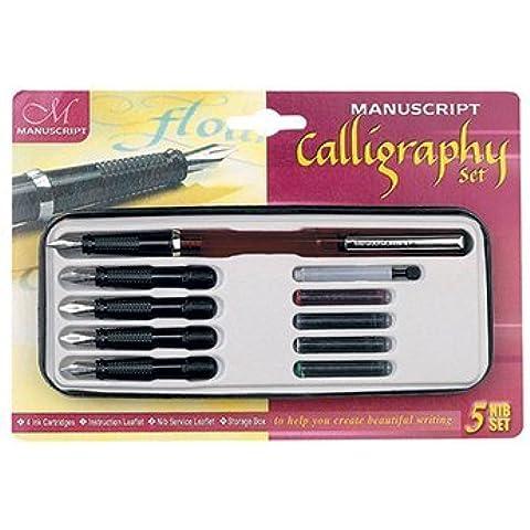 Manuscript Classic Calligraphy Cartridge Pen 5 Nib Set Left Handed by Manuscript