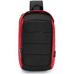 FANDARE Unisexo Bolso de Pecho 7.9 Inch iPad Sling Bag Hombre Bolso de Crossbody Mujer Outdoor Viaje Sport Riding Camping Bolso de Hombro Impermeable Poliéster Rojo Gris