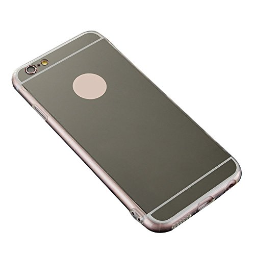Skitic Luxe Mirror Arrière Coque pour iPhone 6 / 6S 4.7 inch, Fashion Creative Electroplate Plating Mirror Transparent Flexible Souple TPU Side Housse de Protection Coquille Protecteur Etui Case Cover Noir