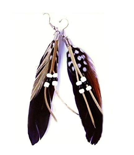 Trend Federohrringe Wild Westina Silbern Mit Schwarzen, Rotbraunen Und Gepunkteten Federn, Lederbändchen und Perlen (Schwarzer Feder Kostüme)