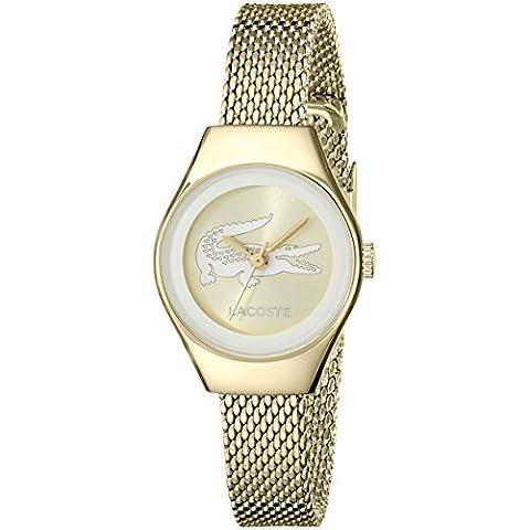 Lacoste Mujer Valencia bañada en oro malla de acero inoxidable Pulsera de reloj 24MM 2000876