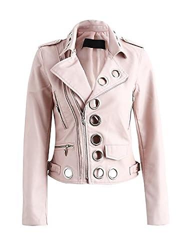 vêtements en cuir pour femmes simplee faux pu fermer moto extérieur de la tenue de revers de veste de motard