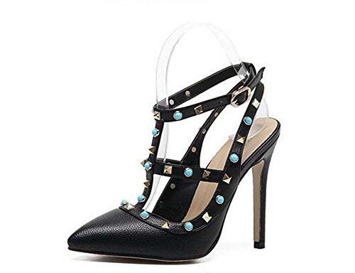 Pompe delle donne dei sandali Rivetti tacco a spillo estate scavano traspirante 35-41 Casual Shoes apricot