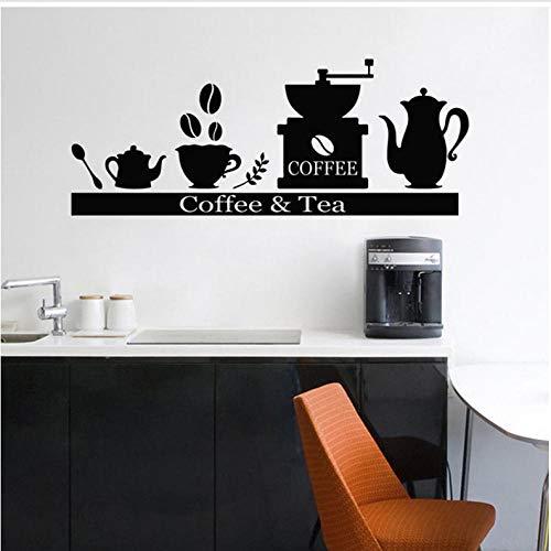 Wandaufkleber kaffeemaschine tasse Abnehmbare Art Dekoration Für Zuhause Wohnzimmer Aufkleber Küche Restaurant Pub Wand-dekor Wandbild 57x22 cm