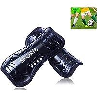 AUVSTAR Youth calcio parastinchi, 1paio, leggero e traspirante bambino vitello protettiva Gear Soccer attrezzature per 3–10anni per bambini adolescenti, Nero