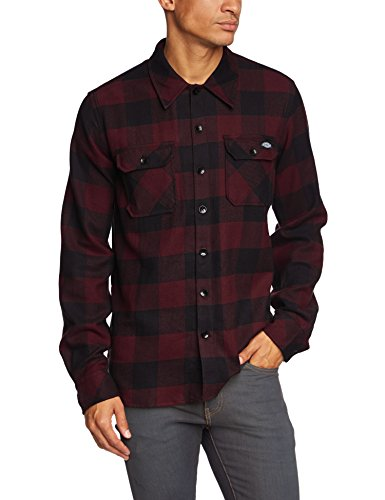 Dickies Herren Freizeithemd Sacramento, Rot (Maroon Mr), X-Large (Front Button Shirt Dress)