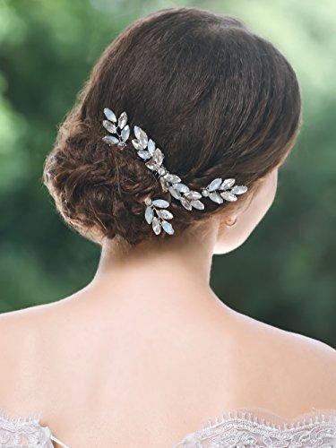 handcess Hochzeit Brautschmuck Haarkamm Pins Set Silber Strass Opal Strass Strassbesatz Haar Zubehör für Braut und Brautjungfer - Pins Braut-haar
