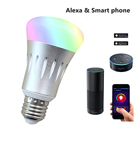 WiFi Light Bulbs /Smart light Led Party Lights Work with Amazon Alexa Echo dot & Google Home , Iphone & Android Smartphone Remote Control ( 7W, silver)