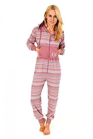 Damen Schlafanzug Einteiler Jumpsuit Overall langarm mit tollen Motiv 267 90 900, (Pyjama Overall)
