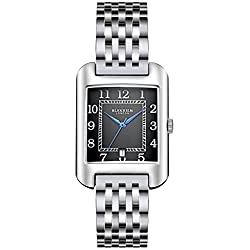 Blenheim London® B3180 Curve Watch Black Arabic Numeral with Blue Hands with Stainless Steel Strap