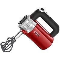 Russell Hobbs 25200-56 Handmixer Retro Ribbon Red, 4 Geschwindigkeitsstufen plus Turbofunktion, 2 Helix-Quirle, 2 Knethaken, 500 Watt, rot