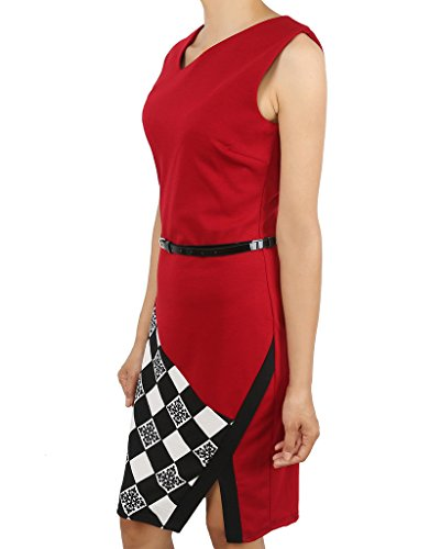 Smile YKK Sommer Damen Wickelkleid Knielanges Kleid Casual Kleid Sommerkleid Business Kleid Weinrot