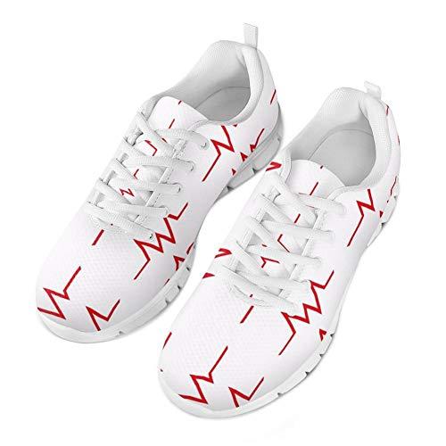 Coloranimal Road Running Jogging-Turnschuhe für Frauen Mädchen Atmungsaktiv Lace-Up Flache Schuhe Mode Krankenschwester Herzschlag Muster Tennis Schuhe -EU Größe 39 (Für Krankenschwester-tennis-schuhe Frauen)