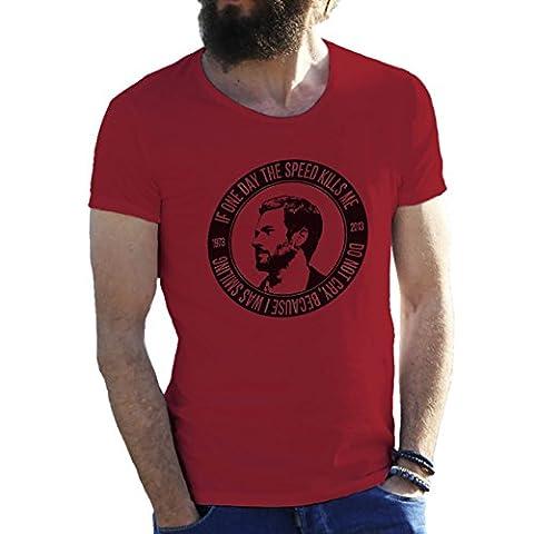 Fast & Furious Paul Walker Bordeaux T-Shirt pour les hommes Small