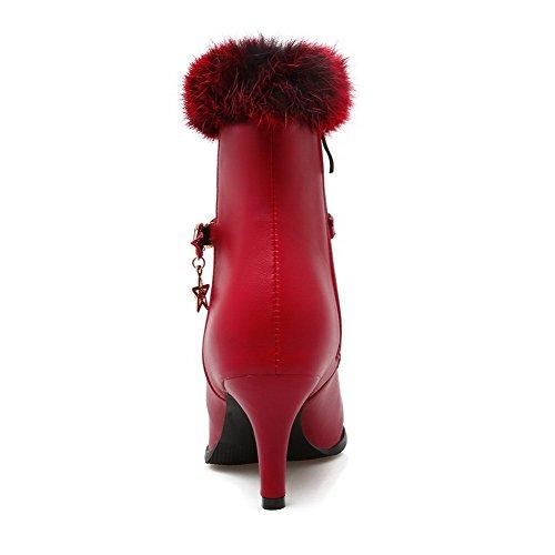VogueZone009 Donna Punta Tonda Puro Media Altezza Tacco Alto Stivali con Talismano Rosso
