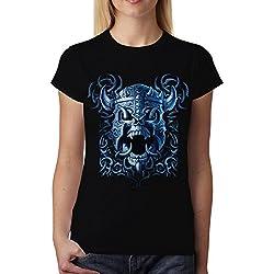 avocadoWEAR Vikingo Casco Guerra Cráneo Batalla Mujer Camiseta Negro XL