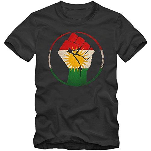 Kurden #1 Premium-Herrenshirt Herren Flagge Kurdistan Türkei Syrien Iran Irak Herrenshirt, Farbe:Dunkelgrau (Dark Grey L190);Größe:S