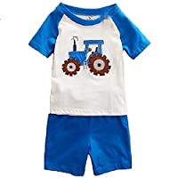 Hooyi Baby Boy Sleepwear Cotton Children Short Sleeve Tractor Pajamas Set (3Year)