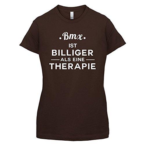 Bmx ist billiger als eine Therapie - Damen T-Shirt - 14 Farben Dunkles Schokobraun