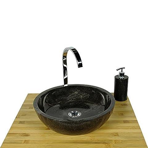 WOHNFREUDEN Marmor Waschbecken MILO 40 cm schwarz ✓ Naturstein Waschschale Handwaschbecken rund poliert für Bad Gäste WC ✓ inkl. techn. Zeichnung ✓ schnell & versandkostenfrei ✓