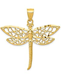 14k Yellow Gold Dragonfly Necklace Pendant Charm Insect Fine Jewelry For Women Gift Set