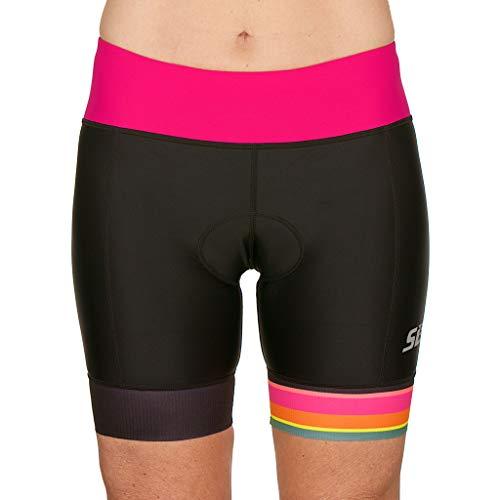 SLS3 FRT 6' Tri Short | Pantalones Cortos de triatlón para Mujer | Súper cómodo y Duradero | Diseño Alemán (Black/Bright Rose, M)
