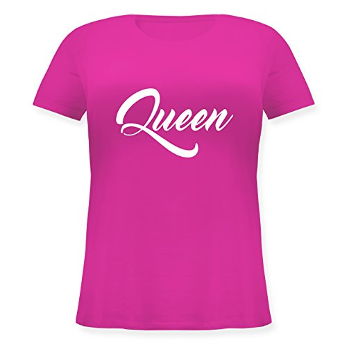 Shirtracer Partner-Look Pärchen Damen - Queen Pärchen Lettering - Lockeres Damen-Shirt in Großen Größen mit Rundhalsausschnitt Fuchsia