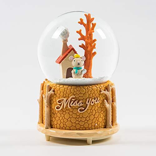 (hokkk Lumineszenz Automatische Flattern Schneeflocke Kristallkugel Spieluhr Octopus Kinder Geburtstagsgeschenk B Dekoration 16 * 11 cm D)